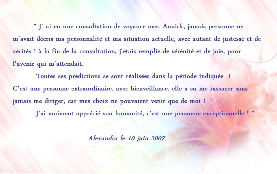 Temoignage alexandra laville juin 2007